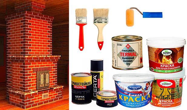 Как покрасить кирпичную печь в доме